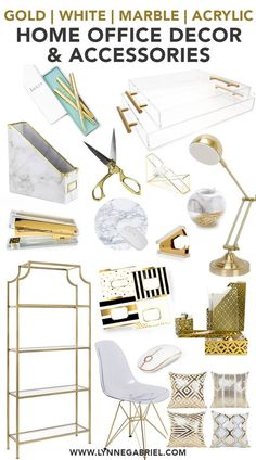 home decor accessories Gold, White, Marble, Acrylic Home Office Decor and Accessories Home Office Space, Home Office Design, Small Office, Interior Office, Office Designs, Office Spaces, Room Interior, Gold Office Decor, Office Chic