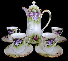 Nippon Hand Painted Porcelain Chocolate Pot, Cups