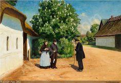 Hans Andersen Brendekilde (1857-1942): Forårsdag i landbyen med nyudsprungent kastanietræ, 1901