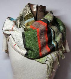 Heather // Handwoven Emerald & Cayenne Striped Scarf // Handspun // Noro Yarn Fashion Accessory by pidgepidge
