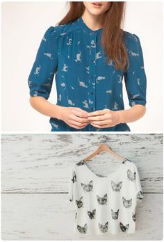 @Veronica, I have found the perfect shirt for your teacher wardrobe: a pretty blouse with cats on it!