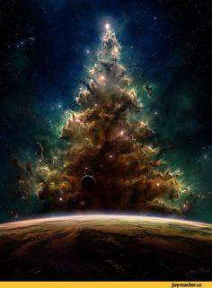 космос,новогодняя туманность,звездная ёлка