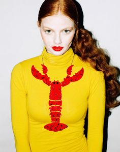 tatty devine giant lobster necklace in red Giant Lobster, Red Lobster, Tatty Devine, Couture, Trends, Shoe Collection, Red Hair, Shiny Hair, Redheads