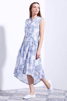 Vajor White Cotton Printed Highlow Dress
