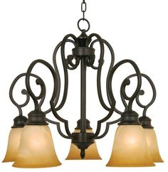 Yosemite Home Decor 93835R-5VB Royal Arches Chandelier with Tuscan Sunset Shades, 5-Down Light, Venetian Bronze