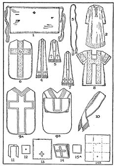 THE VESTMENTS: THEIR NATURE AND CARE - Sacristan's Manual for the Extraordinary Form - SanctaMissa.org 1. Amice, 2. Alb, 3. Cincture, 4. Stole, 5. Maniple, 6. Chasuble, 7. Deacon's Stole, 8. Dalmatic, 9A. Folded Chasuble (back), 9B. Chasuble Front, 10. Broad Stole, etc.
