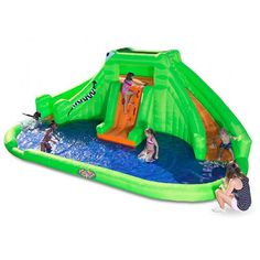 Bring all the fun of the waterpark right to your backyard with the Blast Zone Crocodile Isle Inflatable Water Park and Slide. This fun inflatable features double slides, a climbing wall, and a full splash pool at its base to make your summer sensational. Backyard Trampoline, Backyard Playground, Ponds Backyard, Backyard Pool Parties, Backyard For Kids, Inflatable Water Park, Inflatable Bouncers, Kid Pool, Pool Fun