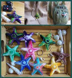 Sienna Earth Sand Crochet Starfish Keychain - etsy