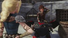"Hiccup and Toothless with Astrid. Hiccup to Astrid- ""Aw, Astrid, thank you."""