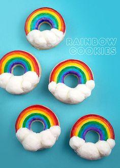 Rainbow Cookies by Bakerella. I'm thinking I can do this with donuts Rainbow Treats, Rainbow Food, Rainbow Cupcakes, Rainbow Sprinkles, Rainbow Baking, Rainbow Cookie, Cake Cookies, Sugar Cookies, Cupcake Cakes