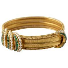 Emerald and Pearl Slide Bracelet