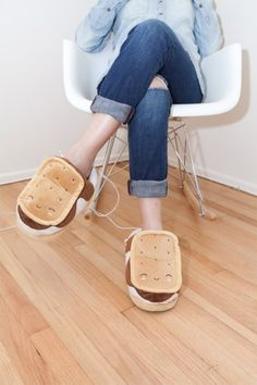 Love S'mores? These s'mores slippers plug into a USB and warm up!
