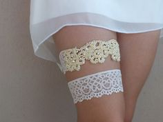 Wedding Garter Set   Romantic lace wedding garter features soft lace with beautiful elegant and embroidered pearl.    I really like working with limited edition, one-of-a-kind, vintage lace and stones