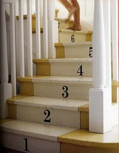 The latest tips and news on painted stairs are on house of anaïs. On house of anaïs you will find everything you need on painted stairs. Painted Staircases, Painted Stairs, Stenciled Stairs, Staircase Painting, Home Interior, Interior Design, Stair Risers, Stair Steps, Basement Stairs