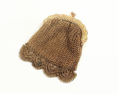 Small vintage gold mesh coin purse with scalloped bottom edge, chain mail mesh, pressed metal frame by CardCurios on Etsy Metal Mesh, Metal Chain, Pressed Metal, Have Metal, Chain Mail, Satin Fabric, Sterling Silver Chains, Coins, Coin Purse