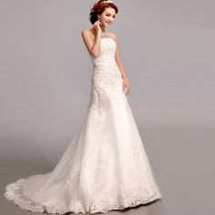 Elegant Lace Beaded Strapless Court Train Wedding Dress Simple Mermaid Wedding Dress