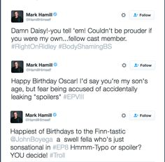 """Mark Hamill... Playfully trolling fans with """"spoilers"""" about who may be a Skywalker child. So far, it looks like *everyone* is! XD"""