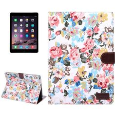 For+iPad+Air+2+White+Flower+Pattern+Leather+Case+with+Holder,+Card+Slots+&+Sleep+Function