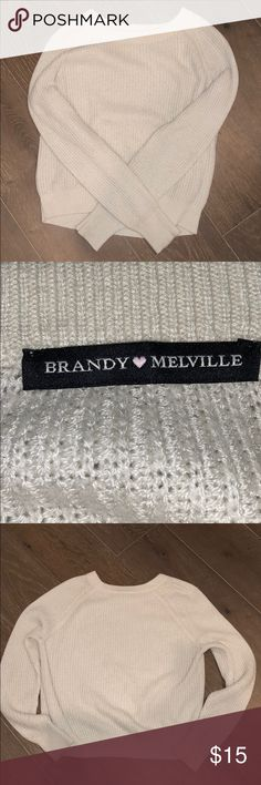 brandy melville sweater cream/off white sweater from brandy melville. great condition but can get very linty when washed with hoodies/other sweaters. ONE SIZE (smoke free home) Brandy Melville Sweaters