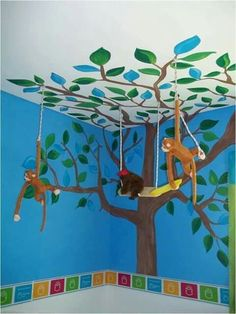 Would be cute for a permanent decoration in the nursery Classroom Design, Classroom Themes, Classroom Decor, Jungle Decorations, School Decorations, Decoration Creche, Jungle Theme Classroom, Vacation Bible School, Safari Theme