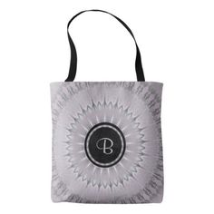 Mauve Silver Mandala Monogram Tote Bag - stylish gifts unique cool diy customize