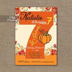 7th Birthday Invitation – Pumpkin Birthday Invitation