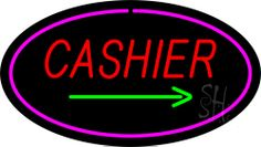 Cashier Oval Pink Neon Sign 17 Tall x 30 Wide x 3 Deep, is 100% Handcrafted with Real Glass Tube Neon Sign. !!! Made in USA !!!  Colors on the sign are Pink, Green and Red. Cashier Oval Pink Neon Sign is high impact, eye catching, real glass tube neon sign. This characteristic glow can attract customers like nothing else, virtually burning your identity into the minds of potential and future customers.