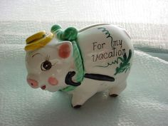 Vintage Vacation Pig Piggy Bank Shabby Chipped Hand Painted Small and Cute #Unbranded Seller florasgarden on ebay
