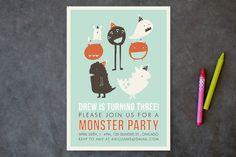 Monster Party Children's Birthday Party Invitations by Lisa Nelson at minted.com