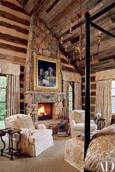 65 Cozy Rustic Bedroom Design Ideas - Di Home Design Log Home Bedroom, Bedroom Decor, Dream Bedroom, Bedroom Fireplace, Cozy Bedroom, Bedroom Interiors, Bedroom Ideas, Diy Fireplace, Rustic Interiors