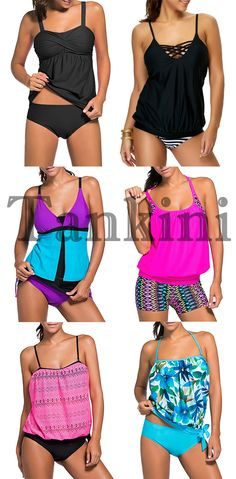 Push Up Twist Tankini Set – Dress Archive Halter Top Swimsuits, Halter Swim Top, Swimsuits For Teens, Swimsuit Tops, Bikini Tops, Push Up, Beachwear, Swimwear, Bathing Suits