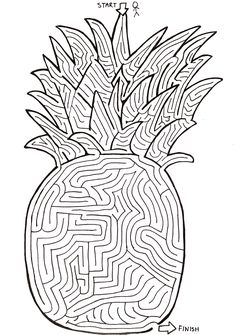 Pineapple maze by Seth Gifford Maze Drawing, End Of Year Party, Maze Puzzles, Mindfulness Activities, Summer Activities For Kids, Brain Teasers, Worksheets, Coloring, Printables