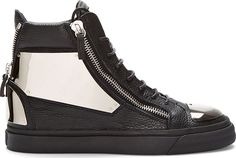 Giuseppe Zanotti - Black Leather Metal-Plated High-Top Sneakers