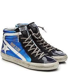 0d4d571c3db5 Golden Goose Deluxe Brand Slide Metallic and Patent Leather High Top  Sneakers Blue Bodies