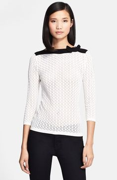 RED Valentino Bow Detail Pointelle Sweater available at #Nordstrom #lovingthis