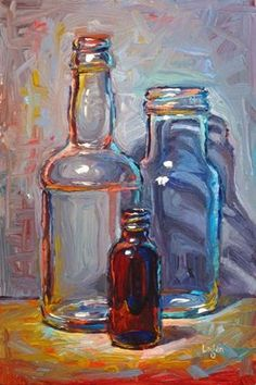 "Daily Paintworks - ""Bottle Trio #4"" - Original Fine Art for Sale - © Raymond Logan"