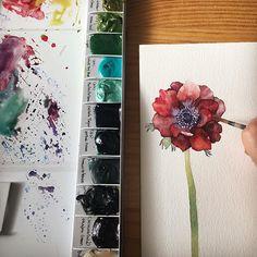 여전히 사랑하는 아네모네 좋은하루 되세요:) . . . #수채화 #수채화일러스트 #watercolour #watercolor #aquarelle #акварельный #watercolorpainting #painting #art #watercolorillustration #watercolorart #painting #viichae #비채#flowerillustration #instaart #instaartist #illustrator #inspiring #꽃그림 #цветок #waterblog #viichaeакварель #inspiration