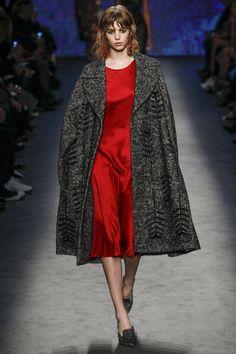 Red Short Silk Dress with a Charcoal Grey Wool Coat by Alberta Ferretti Fall 2016 Ready-to-Wear Fashion Show