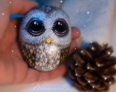 Stone Painting, Rock Painting, Rock Art, Painted Rocks, I Shop, Owl, Bird, Unique Jewelry, Handmade Gifts