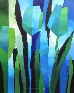 Resultado de imagen de Cubist Painting by Brazilian artist: Goga Art Floral, Abstract Flowers, Abstract Art, Art Techniques, Flower Art, Art Flowers, Painting Inspiration, Textile Art, Collage Art