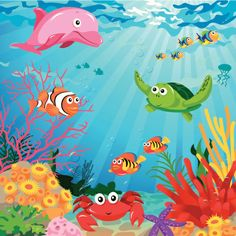 Underwater scene with sea life- Underwater scene with sea life Underwater Scene. Underwater scene with sea life- Underwater scene with sea life Underwater Scene With Sea Life Vector Art 156330111 -# Art Drawings For Kids, Drawing For Kids, Art For Kids, Sea Drawing, Wall Drawing, Under The Sea Images, Underwater Drawing, Sea Life Art, Baby Koala