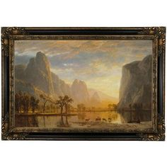 "Astoria Grand 'Valley of the Yosemite' Framed Oil Painting Print on Canvas Format: Black Framed, Size: 26"" H x 37"" W"