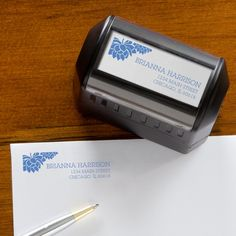This floral personalized self-inking return address label is beautiful! It comes in blue, black, red, purple and green and you can personalize it at PersonalizationMall for only $16.95! This will save you TONS of time and money! LOVE the flower design!! #Stamp #ReturnAddress