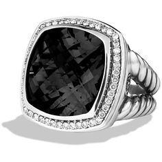 David Yurman Albion Ring with Black Onyx & Diamonds ($1,750) ❤ liked on Polyvore featuring jewelry, rings, accessories, anel, joias, black onyx, diamond jewelry, david yurman jewelry, onyx diamond ring and diamond jewellery