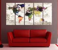 Canvas prints add a unique touch to your home. Modern, stylish and unique design will be the most special piece of your decor. Especially for those who like abstract works, black and white acrylic painting can be prepared in desired sizes  world map push pin wall art print, large canvas art, Push pin world travel map art print, world map wall decor, large abstract art No:7s59  i designed the watercolor map on photoshop. you will receive high resulation canvas print   ◆ GALLERY WRAPPED…