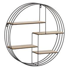 Metal Circle Wooden Shelf Unit