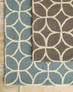Made me think of you and that adorable yellow and grey bathroom! Café Tile Hooked Wool Rug