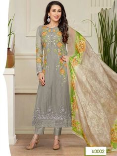 Grey Embroidered Straight Salwar Kameez Suit