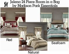 Madison Park Essentials Jelena 24 Piece Room in a Bag in Natural, Red or Seafoam in Home, Furniture & DIY, Bedding, Duvets Bed In A Bag, Interior Design, Comforter Sets, Furniture, Room In A Bag, Home, Home And Garden, Home Decor, Room