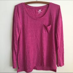 High-low Boyfriend Tee Never worn. Excellent condition. Comfy! Wide neck, high low, pocket in front. Very cute with shorts, skinnies, or to wear around the house! Old Navy Tops Tees - Long Sleeve
